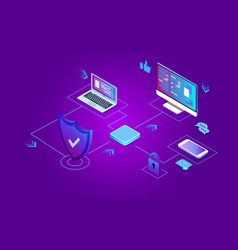 Isometric security data protection concept server vector