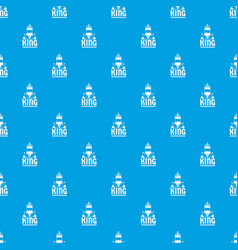 King pattern seamless blue vector
