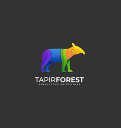 Logo tapir forest gradient colorful vector