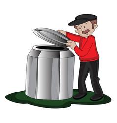man opening barrels lid vector image