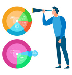 man with charts and icons analysis and statistics vector image