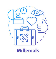 Millennials concept icon age group idea thin line vector