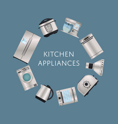 Modern kitchen electronic appliances poster vector