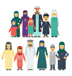 Muslim people father mother grandmother vector