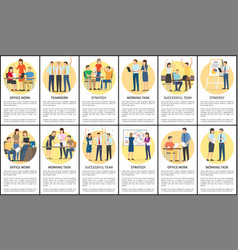office work and teamwork set vector image