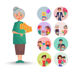 old grandmother with orange flowers vector image