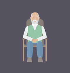 Old man sitting on a chair vector