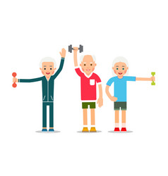 Old people doing exercises with dumbells group vector