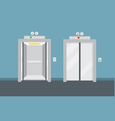 open and closed elevator doors vector image