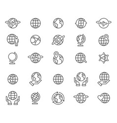 Outline world globes icons set vector