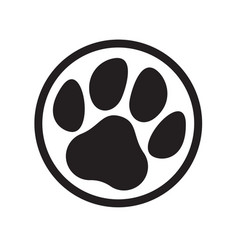 Paw logo cat dog animal pet footprint icon vector