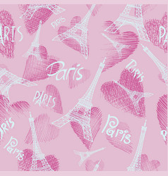 pink seamless background eiffel tower vector image