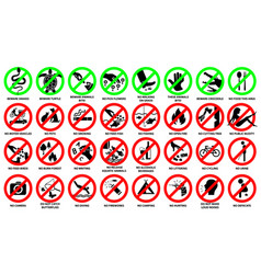 prohibition sign icon set for public park vector image
