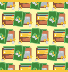 purse wallet with money seamless pattern vector image