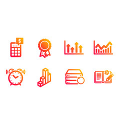recovery server alarm clock and infochart icons vector image