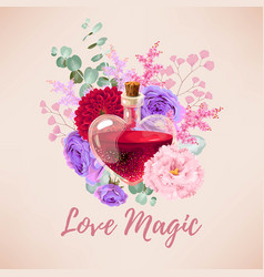 Red love elixir and flowers vector