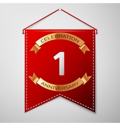 Red pennant with inscription One Years Anniversary vector