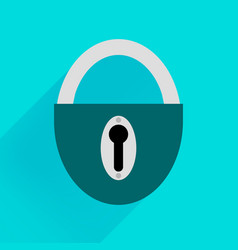 Robust dark green padlock on a blue background vector