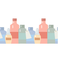Seamless flat border with medicine bottles and vector