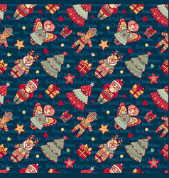 Seamless pattern christmas style vector