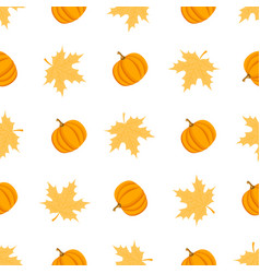 Seamless pattern with leaves and pumpkins vector