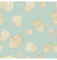 Seamless pattern with muffins and coffee beans vector image