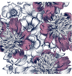 seamless pattern with roses and peony flowers vector image