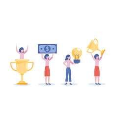 Set businesswomen with cup prize and bill with vector