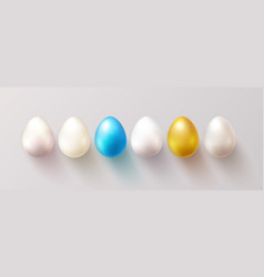 set color easter eggs with shadow traditional vector image