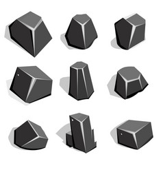 set of coal ore or boulders isometric 2d game ui vector image