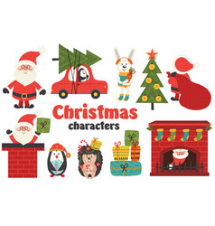 Set of isolated christmas characters part 1 vector
