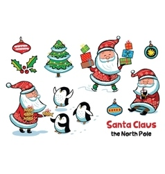 Set of Santa Claus with animals vector image