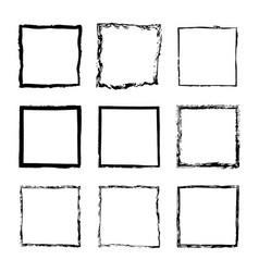 Set of square frames drawn 2 vector