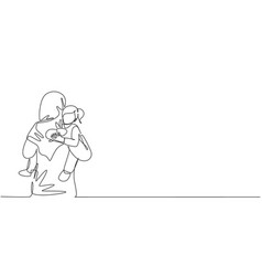 Single one line drawing young arabian mother vector