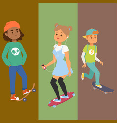 skateboard characters banner stylish vector image