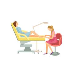 Spa pedicure procedure in room of beauty salon vector