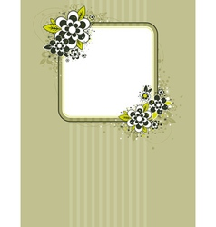 square frame with flowers on striped background vector image