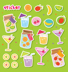 Sticker fruit juice drink cocktail fresh cute cart vector