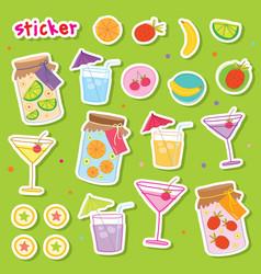 Sticker fruit juice drink cocktail fresh cute cart vector
