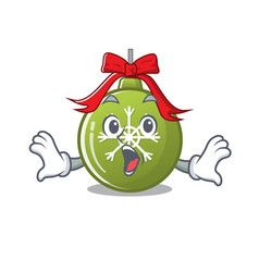 surprised christmas ball green with mascot shape vector image