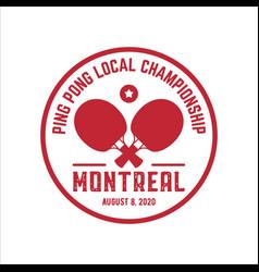 table tennis emblem or badge logo vector image