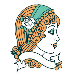 Tattoo with banner a gypsy head vector