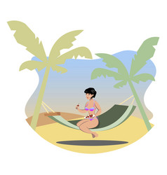 the girl sunbathes on the beach vector image vector image