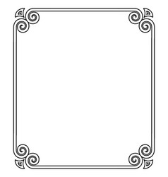 thin black ornamental frame on vector image