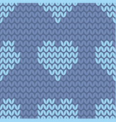 Tile knitting pattern with light blue hearts vector