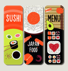 traditional japanese food vertical banners vector image