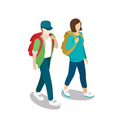 Traveling young couple with backpacks vector