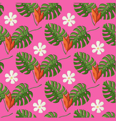 tropical pattern with monstera leaves and flowers vector image