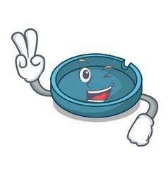 Two finger ashtray character cartoon style vector