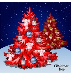 Two red Christmas tree with toys on a starry sky vector image